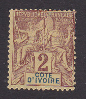 Ivory Coast, Scott #2, Mint Hinged, Navigation And Commerce, Issued 1892 - Côte-d'Ivoire (1892-1944)