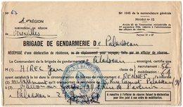 VP12.824 - MILITARIA - PALAISEAU 1967 - Police - Récépissé - Soldat J.C HIREL Né à MOUTIERS - Police & Gendarmerie