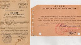 VP12.825 - MILITARIA - RENNES X VERSAILLES 1956 / 63 - 2 Ordre De Mobilisation - Soldat J.C HIREL Né à MOUTIERS - Documents