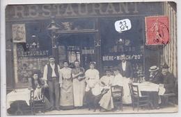 CARTE-PHOTO- PARIS?- BELLE DEVANTURE DU CAFE BOUVIER- CORRESPONDANCE LANGRY A CELLES-SUR-OURCE- 1905 - Cartes Postales