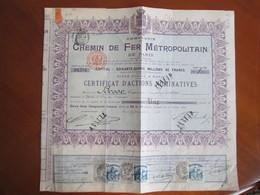 Action   Compagnie Chemin De Fer Metropolitain . Paris 1905 . Timbres Vignettes Credit  Lyonnais - Ferrovie & Tranvie