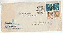 1955 SPAIN COVER ADVERT Brochera Barcelonesa Illus SHAVING BRUSH, TOOTHBRUSH Barcelona To USA Dentistry Health Stamps - 1931-Oggi: 2. Rep. - ... Juan Carlos I
