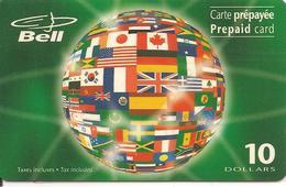 CARTE-PREPAYEE-MAGNETIQUE-CANADA-BELL-10$-TERRE- NON GRATTE-TBE- - Canada