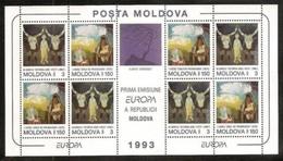 1993 Moldavia Moldova EUROPA CEPT EUROPE Foglietto MNH** Con 4 Coppie Souv. Sheet - 1993