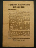 WWII WW2 German Propaganda Leaflet Tract Flugblatt, The Battle Of The Atlantic Is Being Lost! FREE SHIPPING - Old Paper
