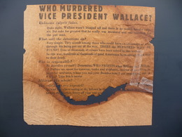WWII WW2 German Propaganda Leaflet Tract Flugblatt, Code SK 438, WHO MURDERED VICE PRESIDENT WALLACE? - Old Paper