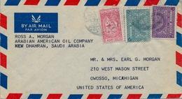 1947 - 1948  ARABIA SAUDITA , SOBRE CIRCULADO ENTRE DHAHRAN Y OWOSSO - Arabia Saudita