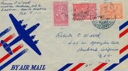 1950 , ARABIA SAUDITA , SOBRE CIRCULADO ENTRE DHAHRAN Y CALIFORNIA , CORREO AÉREO - Arabia Saudita