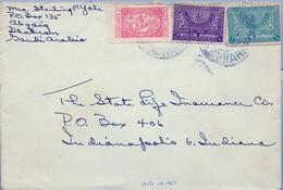 1950 - 1951 , ARABIA SAUDITA , SOBRE CIRCULADO ENTRE DHAHRAN E INDIANAPOLIS , CORREO AÉREO - Arabia Saudita
