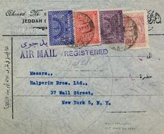 1949 , ARABIA SAUDITA , SOBRE CERTIFICADO ENTRE JEDDAH Y NUEVA YORK , CORREO AÉREO , LLEGADA AL DORSO - Arabia Saudita