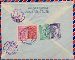 1960 , ARABIA SAUDITA , SOBRE CERTIFICADO ENTRE JEDDAH Y BROOKLYN  , CORREO AÉREO , LLEGADA AL DORSO - Arabia Saudita