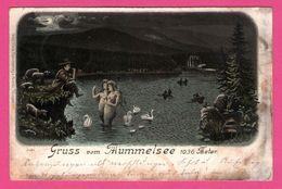 Litho - Gruss Vom Mummelsee - Sirènes Dans L'eau - Sirène - Cygnes - METZ - 1898 - De Baden Baden à Seebach - Allemagne