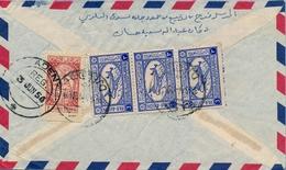 1954 , ARABIA SAUDITA , SOBRE CIRCULADO , JEDDAH - ADEN , LLEGADA AL DORSO - Arabia Saudita