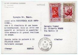 DEAR DOCTOR TYPE PUBL. PELARGON ROSSO - NESTLE' / DAHOMEY / BENIN VILLAGE LACUSTRE - Benin - Dahomey (1960-...)