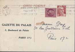 Entier 3.5 Brun Marianne Gandon Neuve Repiquage Gazette Du Palais Paris CAD Paris 3 Oct 47 Storch E1 Cote 30 Euros - Biglietto Postale