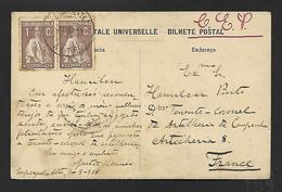 Postal De ESPARGAL / ALTE / LOULE Para FRANÇA CEP Artilharia 8 Tenente Coronel.Cancel CENSURA WWI War Military Mail - Poststempel (Marcophilie)