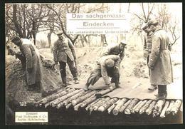 Riesen-AK Deutsche Soldaten Beim Eindecken Der Unterstände - Oorlog 1914-18