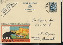 Publibel Obl. N° 85 ( CÖTE D'OR  Attend Votre Visite (expo 1935) Eléphant - Heysel)  Obl. Marche 31/11/34 - Publibels