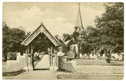 STOKE POGES CHURCH & LYCH GATE / POSTMARK - STOKE POGES (SINGLE CIRCLE) / ADDRESS - LEIGHTON BUZZARD, MENTMORE - Buckinghamshire