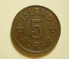 Iceland 5 Aurar 1940 - Islande