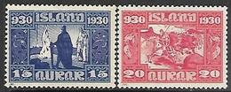 Iceland   1930  Sc#156-7   15a & 20a   MH  2016 Scott Value $58.50 - 1918-1944 Autonomous Administration