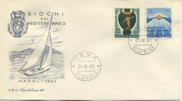 ITALIA - FDC  CAPITOLIUM GRIGIA 1963  - GIOCHI DEL MEDITERRANEO - SPORT - 6. 1946-.. Repubblica