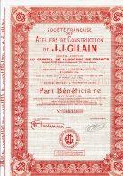 51-ATELIERS DE CONSTRUCTION DE J.J.GILAIN.1933.Part Bénéficiaire. REIMS.Lot De 6 - Other