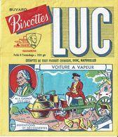 Buvard Biscottes LUC - Inventions & Découvertes (Voiture à Vapeur) - Carte Assorbenti