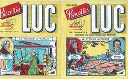 2 Buvards Biscottes LUC - Inventions & Découvertes (Le Système Métrique Et La Machine à Vapeur) - Carte Assorbenti