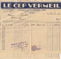LYON. LE CEP VERMEIL. BERARD ET FILS. 2 FACTURES ET UN BON  / 5256 - 1900 – 1949