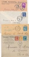 CE-42 FRANCE: Lot Avec Convoyeur  (4 Enveloppes) - Poststempel (Briefe)