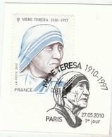 FRANCE 2010 OBLITERE 1ER JOUR SUR FRAGMENT MERE THERESA YT 4455 -                       TDA273 - France