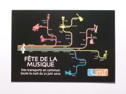 METRO - Partition De Musique , Genre PLAN DE METRO / STIF Paris - RATP - Carte Publicitaire Fête De La Musique 2012 - Métro