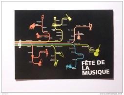 METRO - Partition De Musique , Genre PLAN DE METRO / STIF Paris - RATP - Carte Publicitaire Fête De La Musique 2014 - Métro