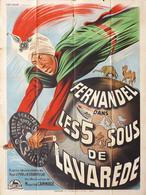 - 5 Sous De Lavarède (Les) - Affiche Française Originale 160 X 120  - Fernandel - Cinéma - Posters