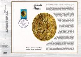 1975 DOCUMENT FDC JOURNEE DU TIMBRE  - PLAQUE DE FACTEUR - Documents Of Postal Services