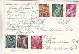Liechtenstein - Carte Postale De 1955 - Oblit Vaduz - Exp Vers München - Fermiers - Chevaux - Valeur 24 Euros - Liechtenstein