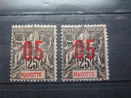 VEND BEAUX TIMBRES DE MAYOTTE N° 25 X 2 NUANCES DIFFERENTES , X+(X) !!! - Neufs