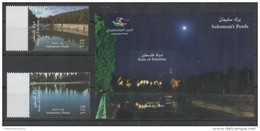 PALESTINE, 2016, MNH, WATER,TREES, SOLOMON'S POOLS,  2v+  S/SHEET - Environment & Climate Protection