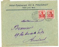 MOSELLE ENV 1908 VIGY ALSACE TIMBRE ALLEMAGNE - Marcophilie (Lettres)