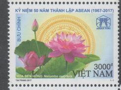 VIETNAM , 2017, MNH, JOINT ISSUE, ASEAN, FLOWERS, 1v - Trains