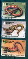 TH Belarus 2018 Lizards Reptiles Lizard Fauna Set 3v Used - Reptiles & Anfibios