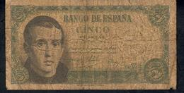 SPAIN P140  5  PESETAS 1951 #E6467639    FINE - 5 Pesetas