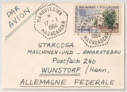 RARE AINSI, MAROVITSIKA MADAGASCAR 50F + Paire 5F, Tarif 60F Pour WUNSTORF Allemagne. PAR AVION. - Madagascar (1960-...)