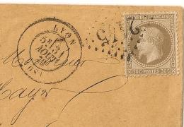 CENTRAGE PARFAIT, 30C Lauré Pour BRENETS Suisse. VOIR VERSO : FABRICATION D'HORLOGERIE Guinand Mayer. 1871 - Marcophilie (Lettres)