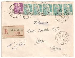 LECTOURE Gers Recommandé Tarif 50 F Au Type GANDON. 8F BANDE DE CINQ - Lettres & Documents
