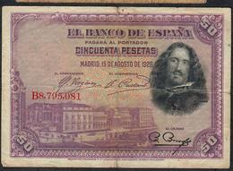 SPAIN P75b  50  PESETAS 1928 #B8795081    FINE - [ 1] …-1931 : Eerste Biljeten (Banco De España)