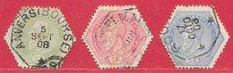 Belgique Télégraphe N°12, 16 & 17 1897-99 O - Télégraphes