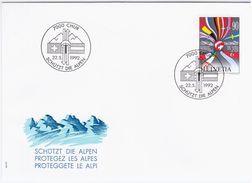 Switzerland Swiss Schweiz Svizzera Helvetia 1992 FDC Protect The Alps Alpen Alpes Alpi - FDC