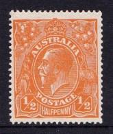 Australia 1923 King George V 1/2d Orange Single Crown Variety 66(8)e MNH - Mint Stamps